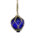 "4"" Vintage-Style Glass Floating Ball Buoy With Rope - 3 colors"