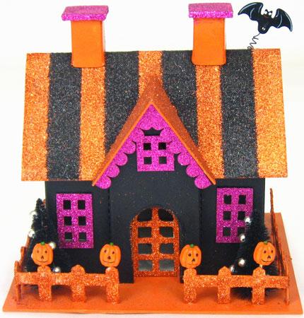 Glittered Victorian Style Halloween Houses Halloween