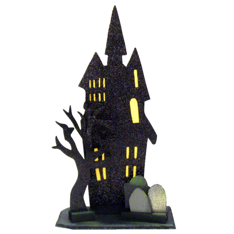 "18"" Haunted House Silhouette On Slate"