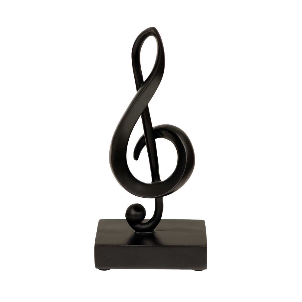 "7"" Black Treble Clef Musical Note Statuette"
