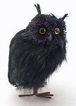 "7"" Feathered Black Owl"
