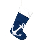 Hand-crafted Coastal Christmas Stocking With Admiralty Anchor - 2 styles