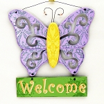 Wood Butterfly Welcome Sign
