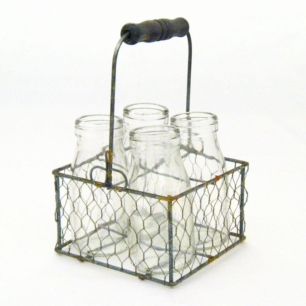 Rustic Weathered Gray Zinc Wire Milk Jar Caddy With Wood ...