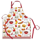 Vintage-Style Barbecue BBQ Grill Illustrated Apron
