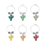 Saguaro Cactus Themed Wine Charms (6)