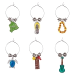 Hawaiian Paradise Themed Wine Charms (6)