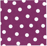 Plum/Purple Beverage Napkins With White Polka Dots (16) **CLEARANCE**
