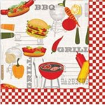Barbecue BBQ Grill Illustrated Beverage Napkins (20)