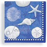 Blue Water & White Shells Beverage Napkins