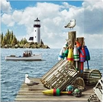 Dockside & Lighthouse Beverage Napkins