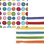 Multi-Colored Watercolor Polka Dots & Stripes Beverage Napkins (24)