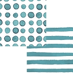 Peacock Teal Watercolor Polka Dots & Stripes Beverage Napkins (24)
