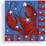 Red, White & Blue Festive Lobster Beverage Napkins (24)