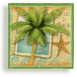 Sun & Sea Palm Tree Postcard Beverage Napkins (24)