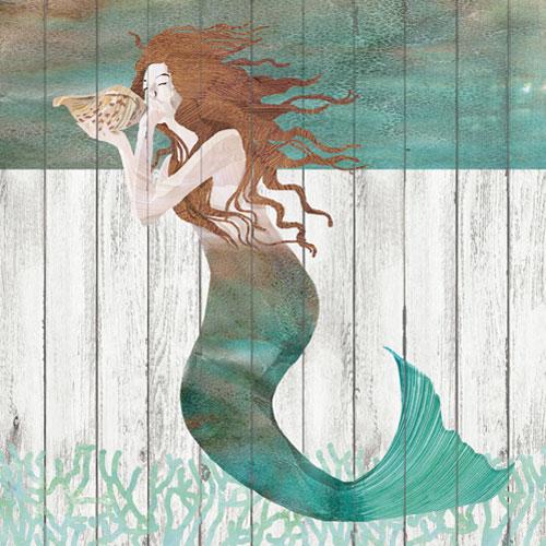 Mermaid Guest Towels: Waterside Mermaid Beverage Napkins