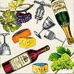 Wine, Cheese & Grapes Beverage Napkins (20)