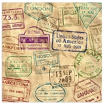 World Passport Travel Stamps Luncheon Napkins