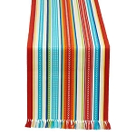 Baja Stripe Fringed Mexican Table Runner