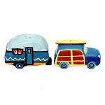 Woodie Surfer Wagon & Camper Salt & Pepper Shakers