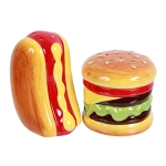 Hot Dog & Hamburger Ceramic Salt & Pepper Shakers