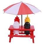 Red Plastic Picnic Table With Umbrella Condiment Set