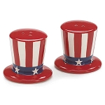 Uncle Sam's Top Hat Patriotic Salt & Pepper Shakers