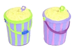 Sand-Filled, Striped Beach Pail Candle