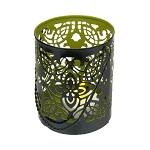 Intricate Die-cut Global Metal Tealight Holder - Green Interior