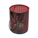 Intricate Die-cut Global Black Metal Tealight Holder - Red Interior