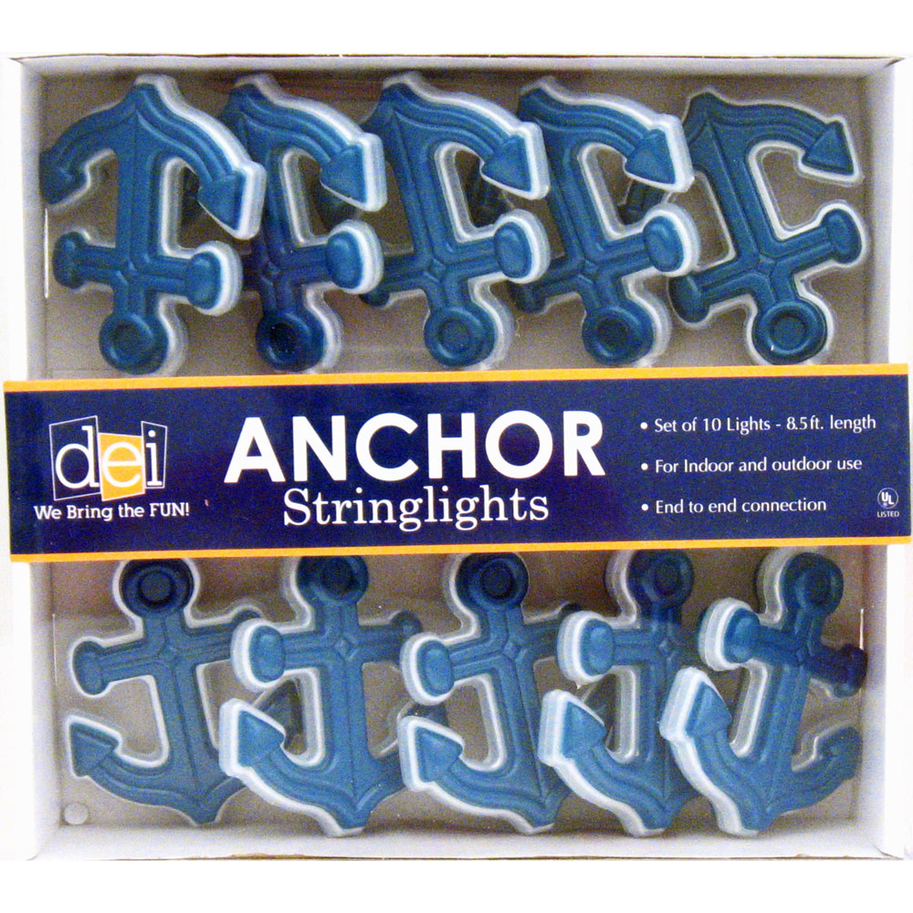 Nautical blue admiralty anchor string lights beach for Anchor decoration party