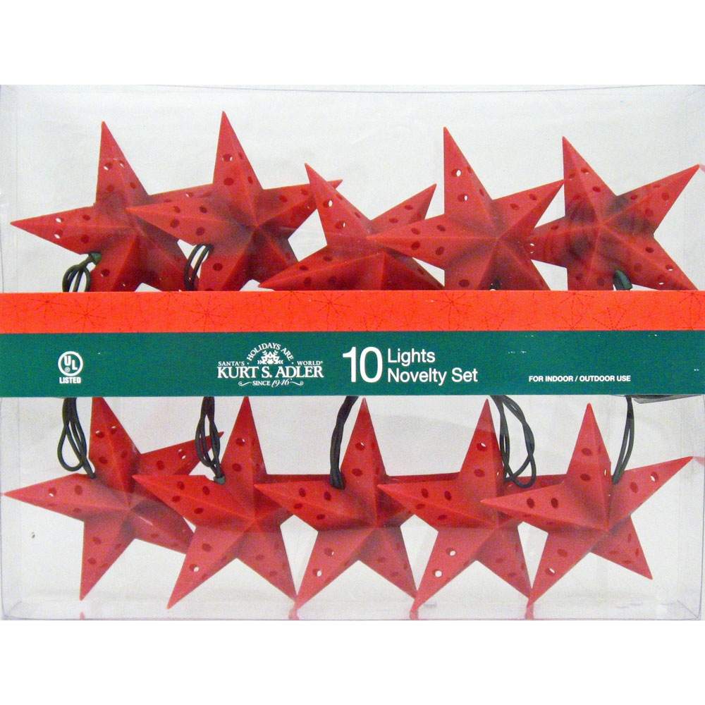 5-Point Red Dimensional Star String Lights Country Western Holiday Party Decorations