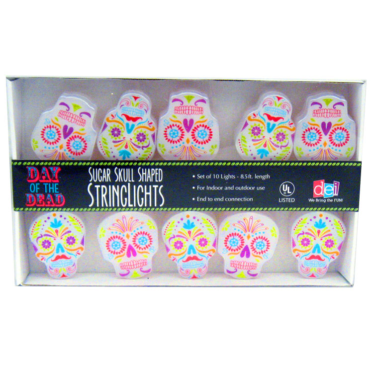 Day Of The Dead Sugar Skull String Lights Halloween