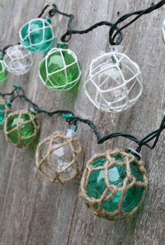 Vintage Glass-Style Buoy Float Electrig String Lights Beach Nautical Decorations