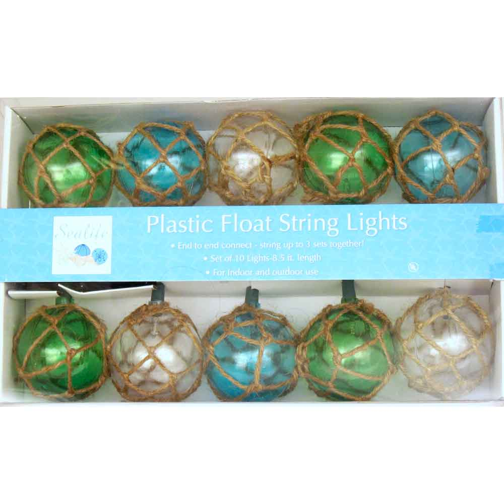 Outdoor String Lights Nautical : Vintage Glass-Style Buoy Float Electrig String Lights Beach Nautical Decorations