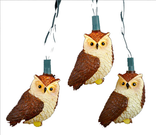 Brown Owl Electric String Lights Woodland Creatures Autumn Fall Decorations