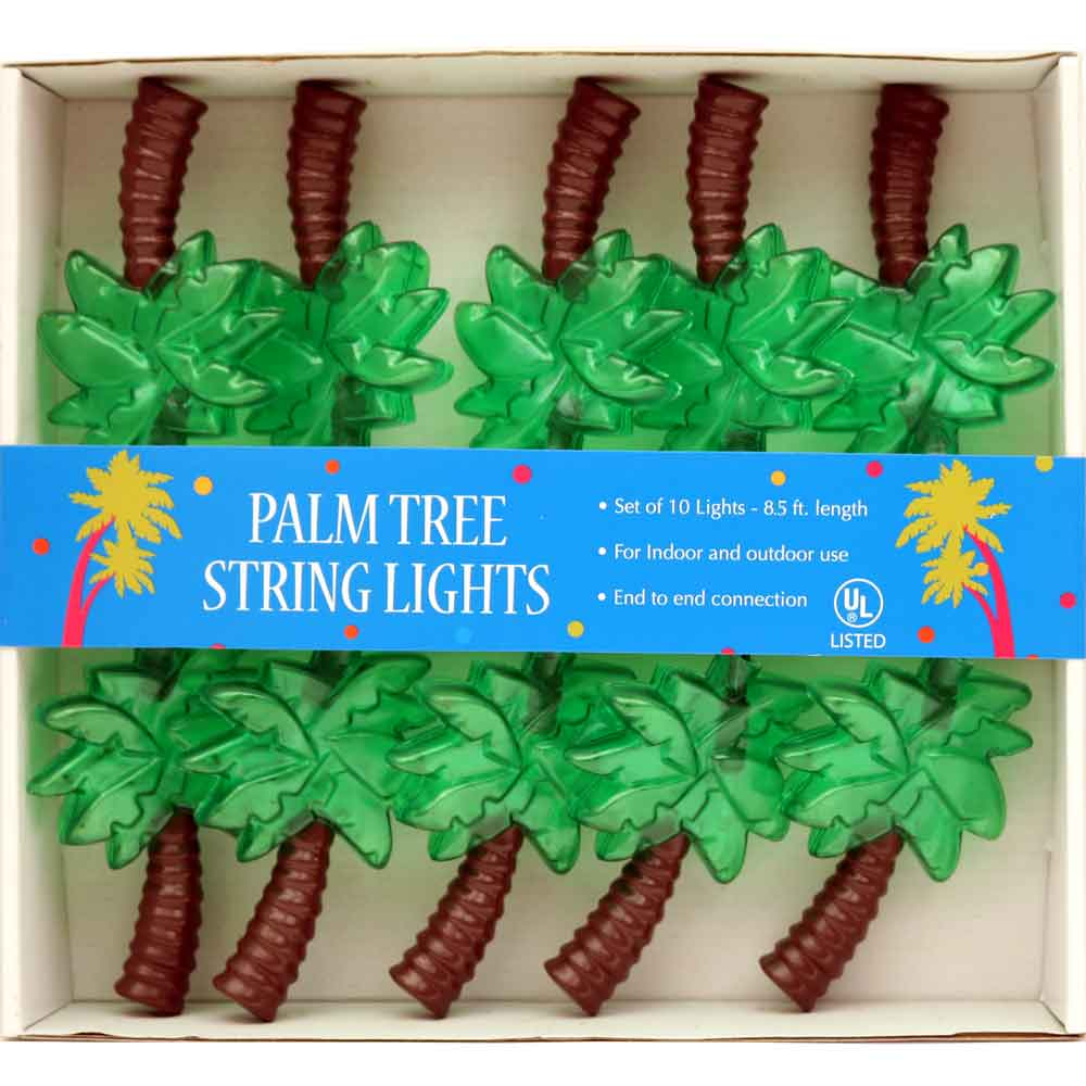 Palm Tree Electric String Lights Hawaiian Luau Pink Flamingo Beach