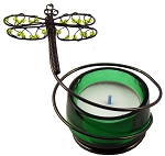 Beaded Green Dragonfly Tealight Candle Holder