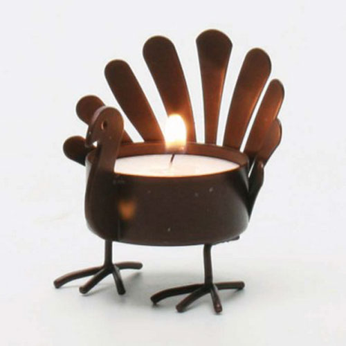 standing turkey metal tealight holder