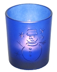 Blue Frosted Snowman Tealight Holder