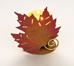 Fall Maple Leaf Metal Votive Holder