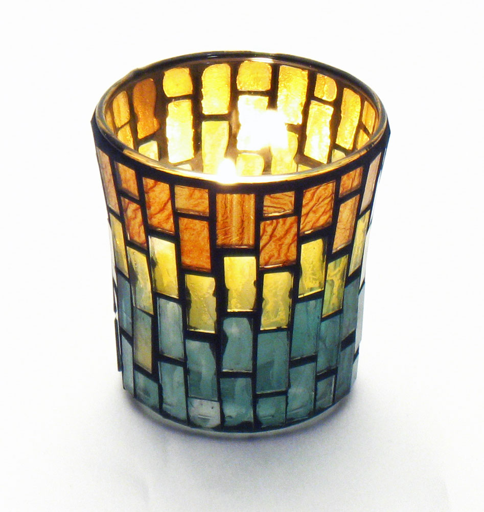 Gold & Copper Mosaic Votive Candle Holder