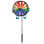 "39"" Gay Rainbow Flag Ferris Wheel Ground Spinner"