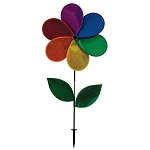 "43"" Gay Rainbow Flag Flower Ground Spinner With Leaves"