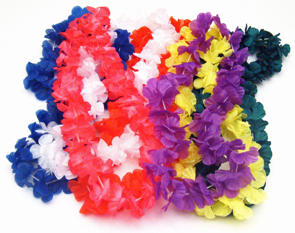 Hawaiian silk flower leis luau party decoration packages hawaiian leis in assorted colors izmirmasajfo Image collections