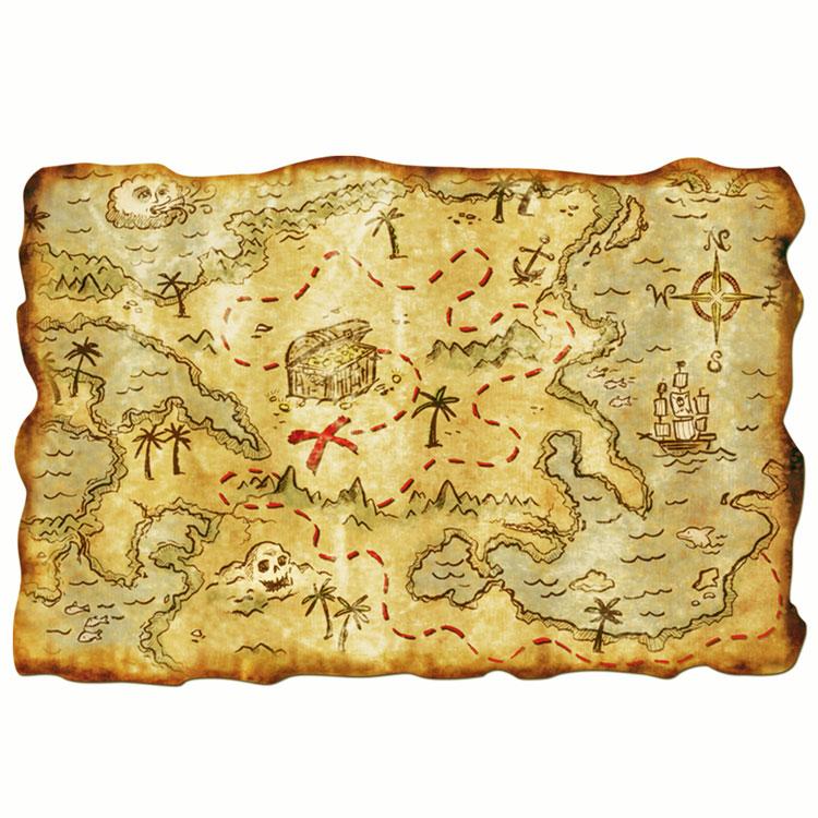 """Pirate Treasure Map Rug: 12"""" X 18"""" Plastic Pirate Treasure Map"""
