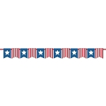 Patriotic Stars & Stripes Mini Flag Banner With Satin Ribbon