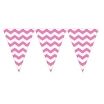 Candy Pink Chevron Mini Plastic Pennants - 9-Foot