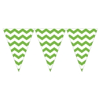 Fresh Lime Green Chevron Mini Plastic Pennants - 9-Foot