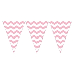 Pastel Pink Chevron Mini Plastic Pennants - 9-Foot